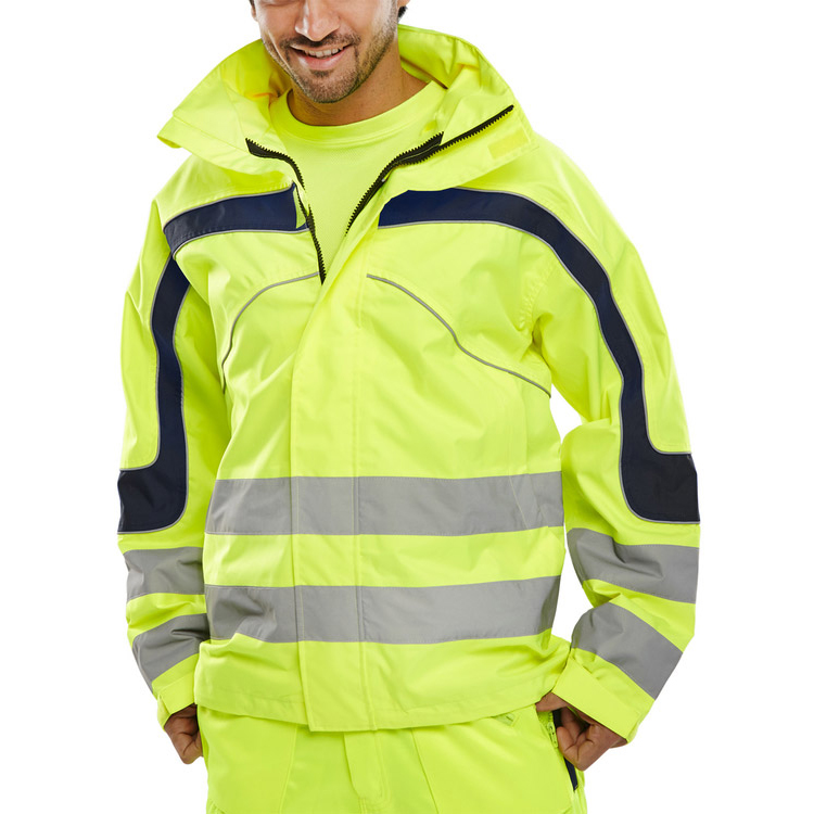 B-Seen Eton High Visibility Breathable EN471 Jacket 4XL Sat/Yellow Ref ET45SY4XL *Up to 3 Day Leadtime*
