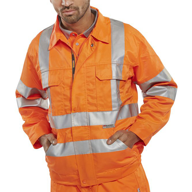 Reflective apparel or accessories BSeen High Visibility Railspec Jacket 38in Orange Ref RSJ38 *Up to 3 Day Leadtime*