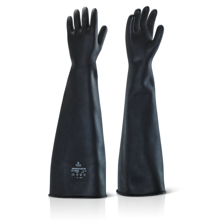 Ansell Industrial Latex Heavy Weight 24inch Gauntlet Black 09 Ref ILHW2409 Up to 3 Day Leadtime