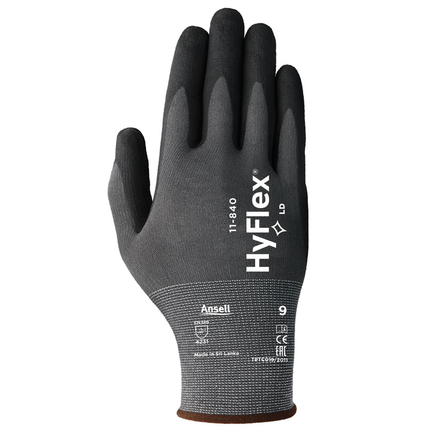 Ansell Hyflex 11-840 Glove Size 10 XL Black Ref AN11-840XL *Up to 3 Day Leadtime*
