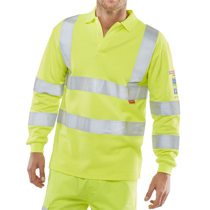 Click Arc Flash Polo L-Sleeve Hi-Vis Fire Retardant 2XL Yellow Ref CARC2HVSYXXL *Up to 3 Day Leadtime*