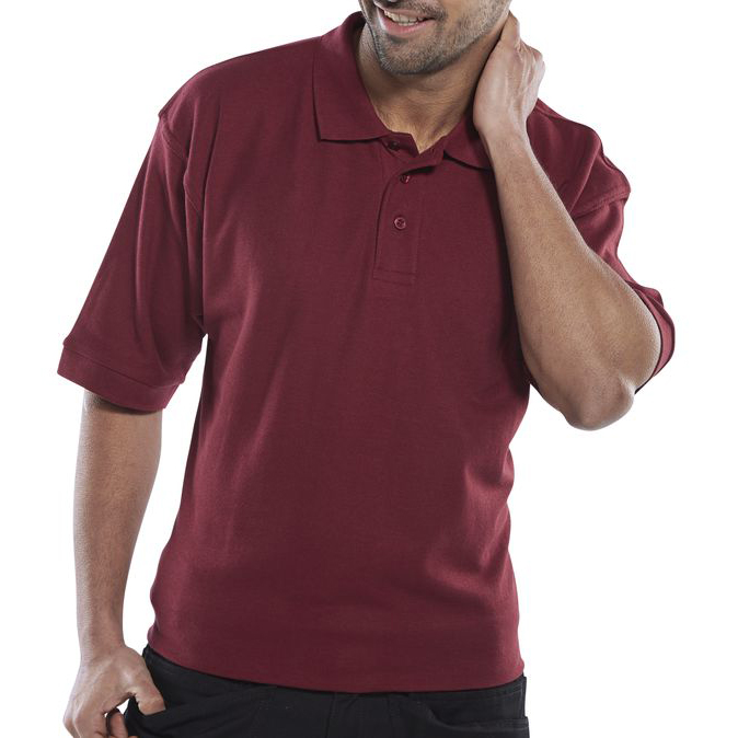 Mens shirts Click Workwear Polo Shirt Polycotton 200gsm M Burgundy Ref CLPKSBUM *Up to 3 Day Leadtime*