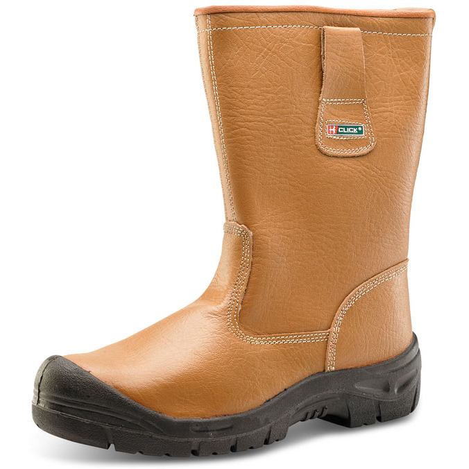 Safety boots Click Footwear Scuff Cap Lined Rigger Boot PU/Leather Size 8 Tan Ref RBLSSC08 *Up to 3 Day Leadtime*