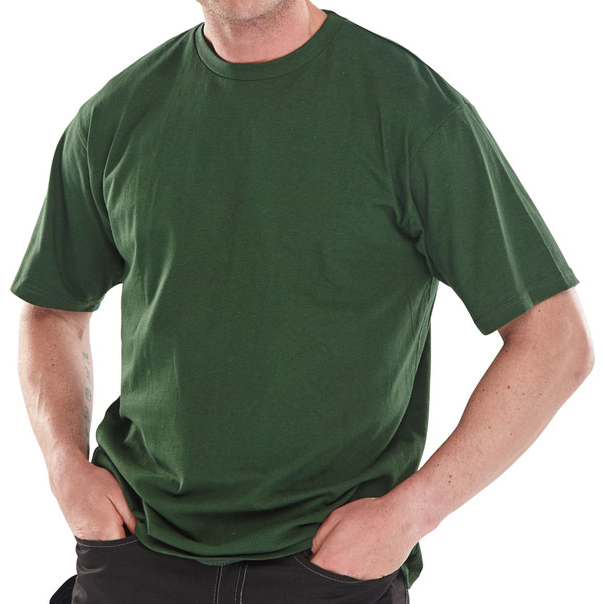 Mens tshirts Click Workwear T-Shirt Heavyweight 180gsm 2XL Bottle Green Ref CLCTSHWBGXXL *Up to 3 Day Leadtime*