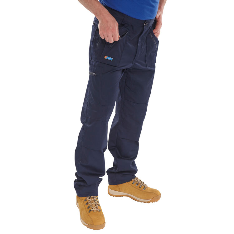 Limitless Click Workwear Work Trousers Navy Blue 44-Short Ref AWTN44S *Up to 3 Day Leadtime*