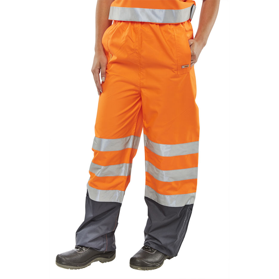 Ladies B-Seen Belfry Over Trousers Polyester Hi-Vis Orange/S Navy Blue Ref BETORNS *Up to 3 Day Leadtime*