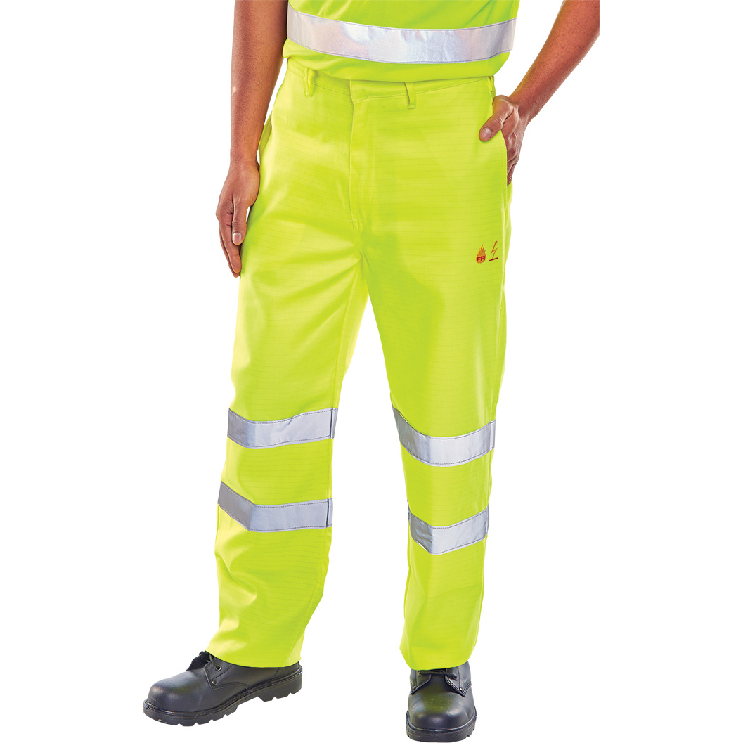 Click Fire Retardant Trousers Anti-static EN471 42 Saturn Yellow Ref CFRASTETSY42 *Up to 3 Day Leadtime*