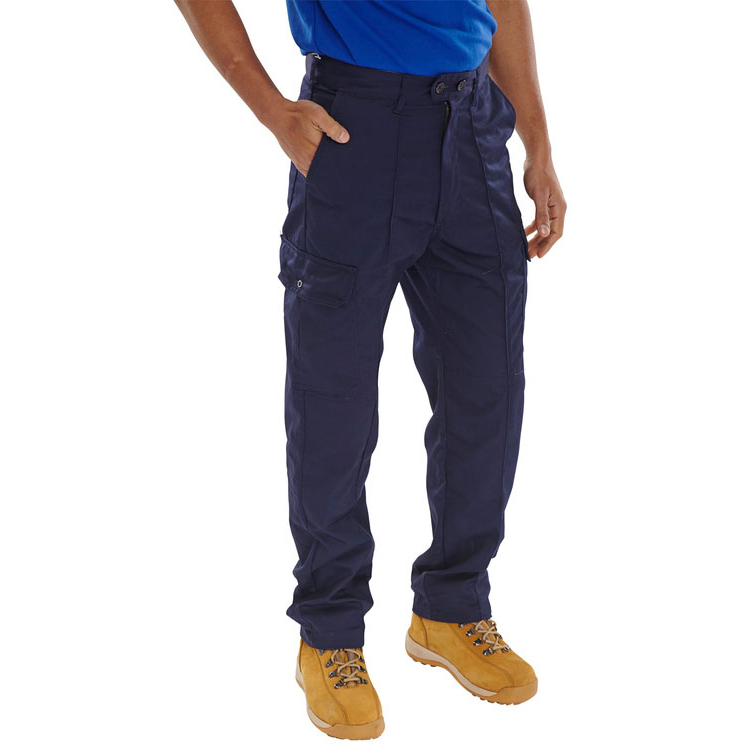 Mens slacks or trousers or shorts Super Click Workwear Drivers Trousers Navy Blue 52 Ref PCTHWN52 *Up to 3 Day Leadtime*