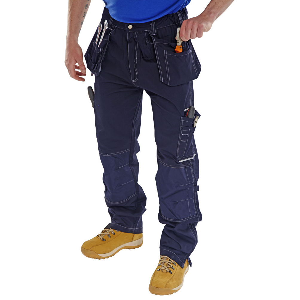 Mens slacks or trousers or shorts Click Workwear Shawbury Trousers Multi-pocket 34-Tall Navy Blue Ref SMPTN34T *Up to 3 Day Leadtime*