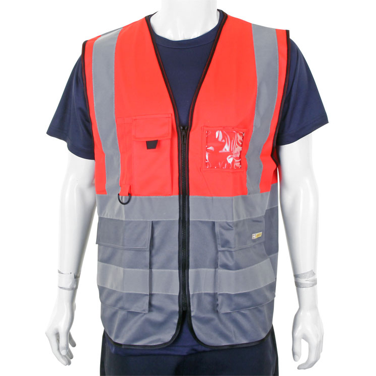 Bodywarmers BSeen High-Vis Two Tone Executive Waistcoat Medium Red/Grey Ref HVWCTTREGYM *Up to 3 Day Leadtime*