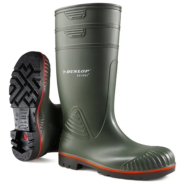 Dunlop Acifort Safety Wellington Boots Heavy Duty Size 7 Green Ref A44263107 *Up to 3 Day Leadtime*
