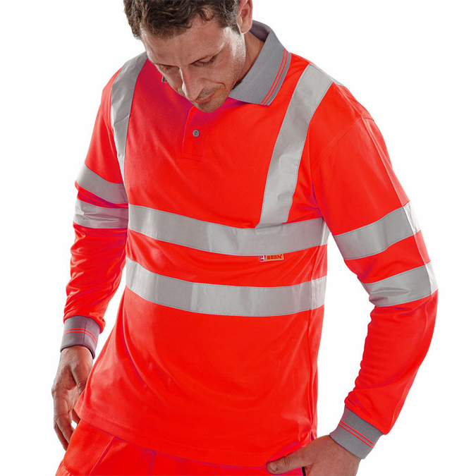 BSeen Polo Long Sleeved Hi-Vis EN ISO20471 M Red Ref BPKSLSENREM *Up to 3 Day Leadtime*