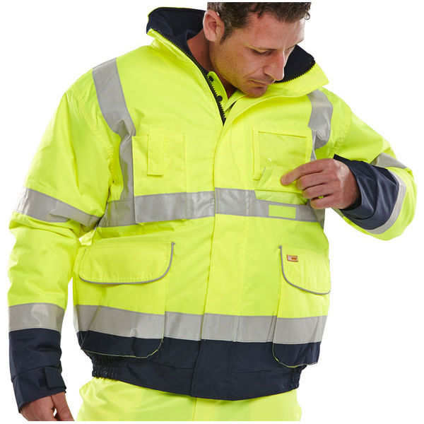 B-Seen Hi-Vis Two Tone Bomber Jacket Large Yellow/Navy Ref BD208SYNL Up to 3 Day Leadtime