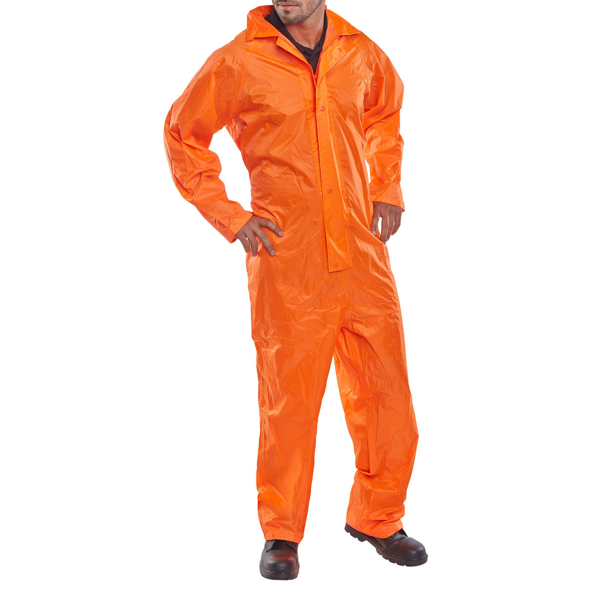 B-Dri Weatherproof Coveralls Nylon Large Orange Ref NBDCORL *Up to 3 Day Leadtime*