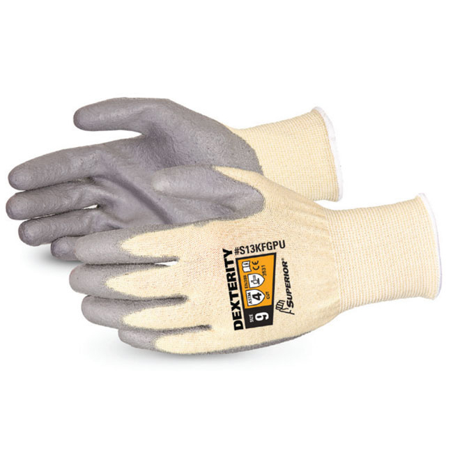 Superior Glove Dexterity PU Palm-Coated Cut-Resistant 11 Grey Ref SUS13KFGPU11 Up to 3 Day Leadtime