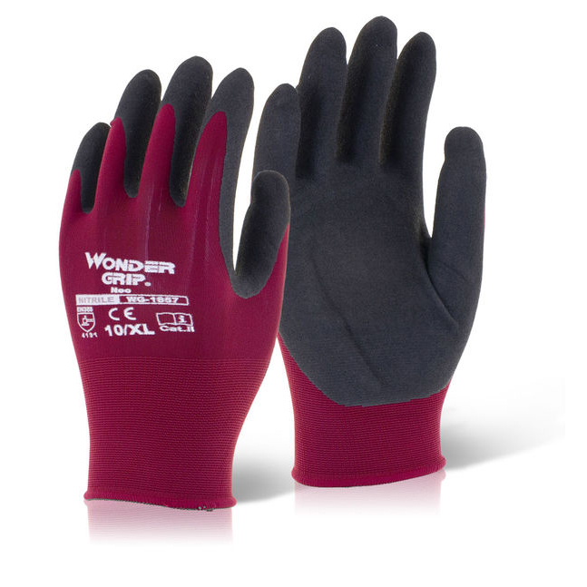 Wonder Grip Glove Neo Oil/Wet Resistance Large Red [Pack 12] Ref WG1857L Up to 3 Day Leadtime