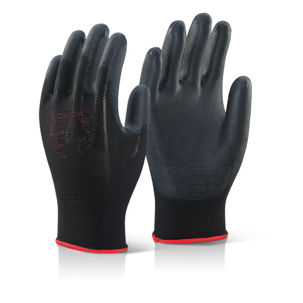 Limitless Click2000 Pu Coated Gloves Black XL Ref PUGBLXL Pack 100 *Up to 3 Day Leadtime*
