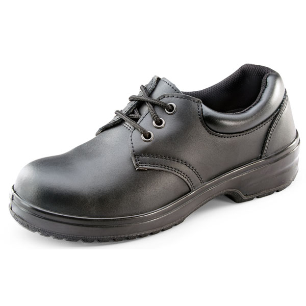 Click Footwear Ladies Shoe PU/Leather Steel Toecap Size 40/6.5 Black Ref CF13BL06.5 *Upto 3 Day Leadtime*