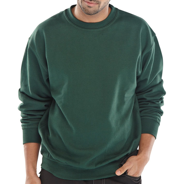 Click Workwear Sweatshirt Polycotton 300gsm XL Bottle Green Ref CLPCSBGXL Up to 3 Day Leadtime