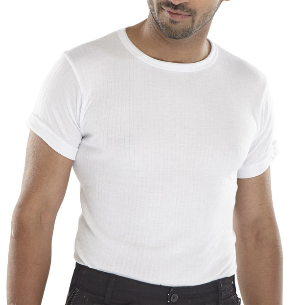 Click Workwear Short Sleeve Thermal Vest White S*Up to 3 Day Leadtime*