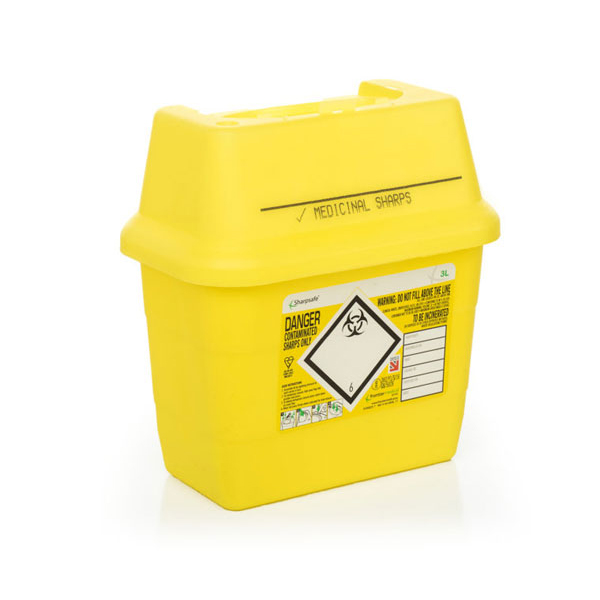 Click Medical Sharps Bin Temporary & Final Closure Feature 3L Yellow Ref CM0644 Up to 3 Day Leadtime