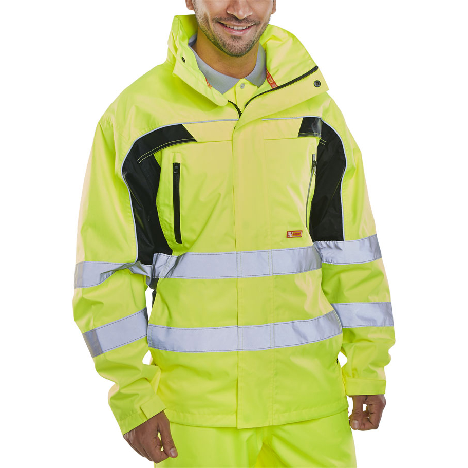 B-Seen Hi-Vis Contrast Jacket Small Saturn Yellow Ref Small Ref BD80SYS *Up to 3 Day Leadtime*