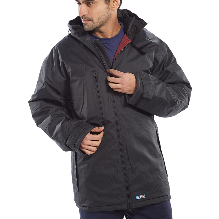 B-Dri Weatherproof Mercury Jacket with Zip Away Hood 3XL Black Ref MUJBLXXXL *Up to 3 Day Leadtime*
