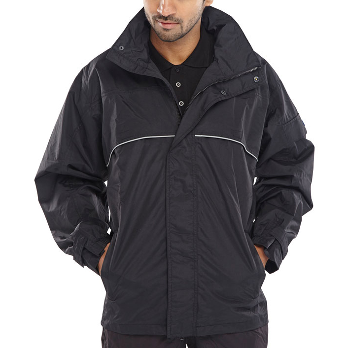 B-Dri Weatherproof Springfield Jacket Hi-Vis Piping Medium Black Ref SJBLM Up to 3 Day Leadtime
