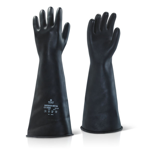 Ansell Industrial Latex Medium Weight 17inch Gauntlet Black Size 08 Ref ILMW1708 Up to 3 Day Leadtime
