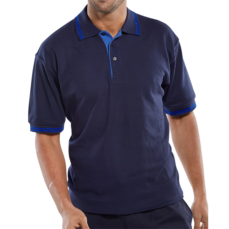 Click Workwear Polo Shirt Two Tone 220gsm 2XL Navy/Royal Blue Ref CLPKSTTNRXXL *Up to 3 Day Leadtime*