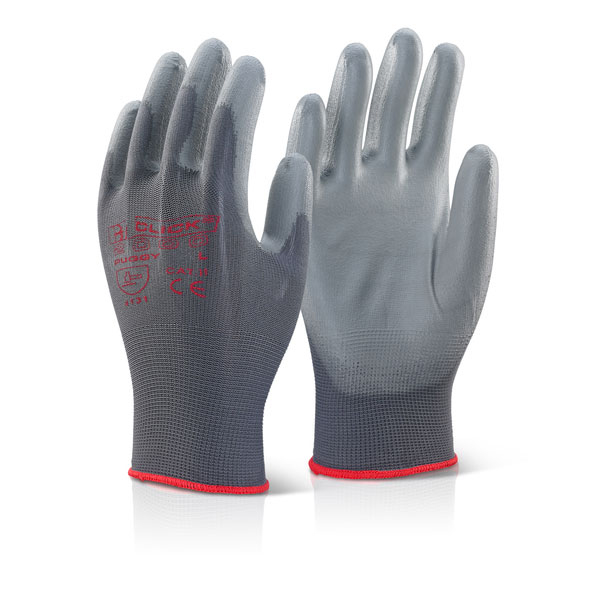 Click2000 Pu Coated Gloves Grey L Ref PUGGYL [Pack 100] *Up to 3 Day Leadtime*