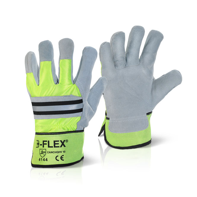 Image for B-Flex Canadian High Quality High Viz Rigger Glove Yellow Ref CANCHQHV [Pack 10] *Up to 3 Day Leadtime*