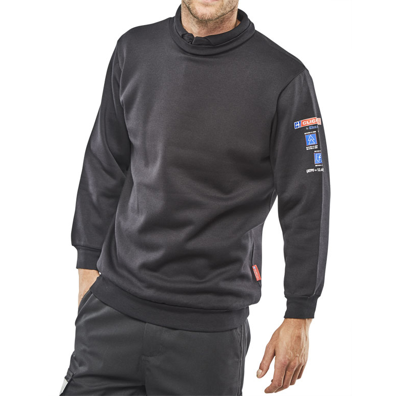 Click Arc Flash Sweatshirt Fire Retardant L Navy Blue Ref CARC3NL *Up to 3 Day Leadtime*