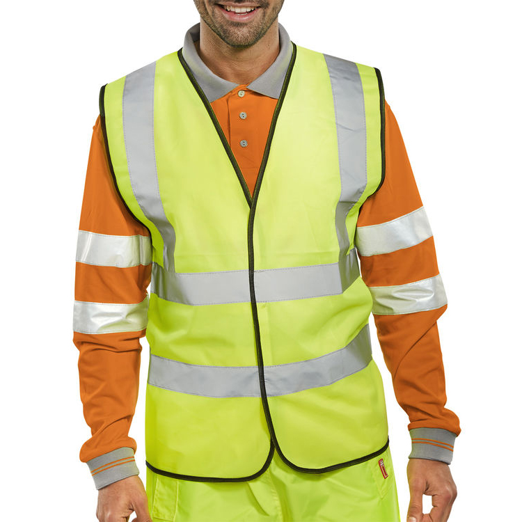 BSeen High Visibility Waistcoat Full App 7XL Yellow/Black Piping Ref WCENG7XL *Up to 3 Day Leadtime*
