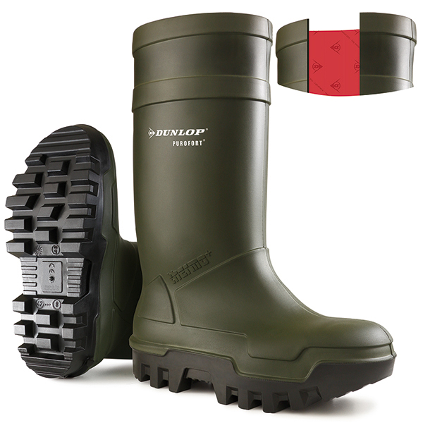 Dunlop Purofort Thermo Plus Safety Wellington Boot Size 8 Green Ref C66293308 *Up to 3 Day Leadtime*
