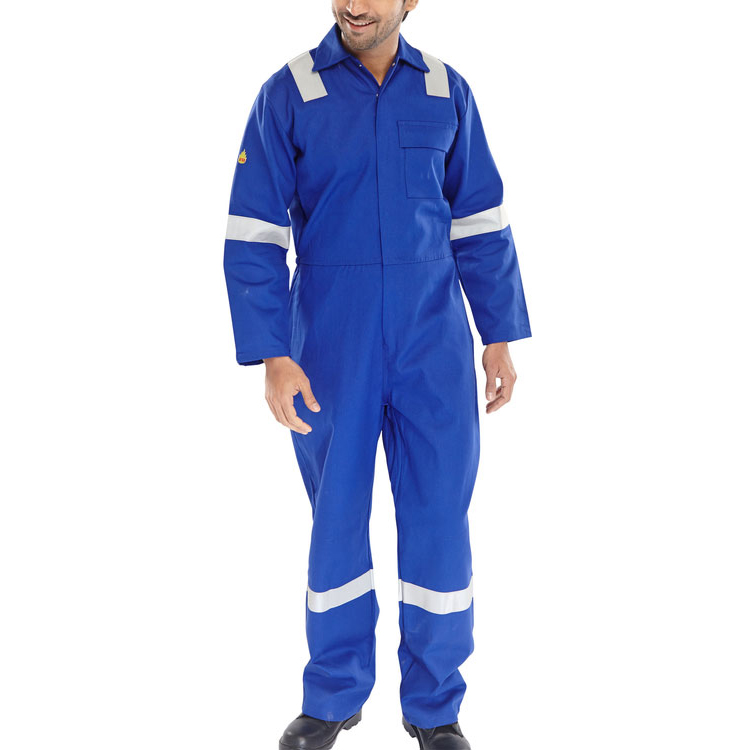 Click Fire Retardant Boilersuit Nordic Design Cotton 40 Royal Blue Ref CFRBSNDR40 Up to 3 Day Leadtime