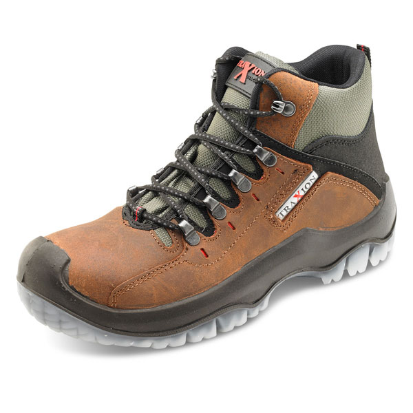 Footwear Click Traders Traxion Boot PU/TPU/Leather Steel Toecap 10.5 Brown Ref TBBR10.5 *Up to 3 Day Leadtime*