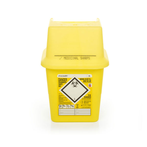 Click Medical Sharps Bin Temporary & Final Closure Feature 4L Yellow Ref CM0645 Up to 3 Day Leadtime