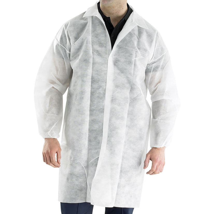 Protective coveralls Click Once Polyprop Disposable Visitors Coat 2XL White Ref PDVCXXL Pack 50 *Up to 3 Day Leadtime*
