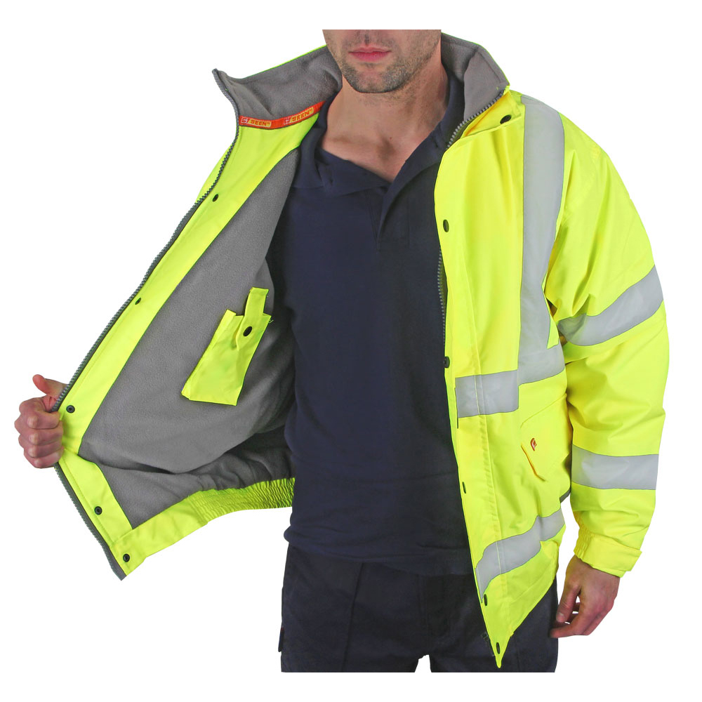 B-Seen Hi-Vis Bomber Jacket Fleece Lined Medium Saturn Yellow Ref CBJFLSYM *Up to 3 Day Leadtime*