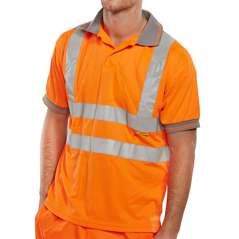 B-Seen Polo Shirt Hi-Vis Short Sleeved XL Orange Ref BPKSENORXL *Up to 3 Day Leadtime*