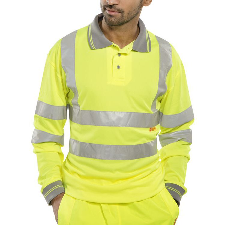 B-Seen Polo Long Sleeved Hi-Vis EN ISO20471 L Saturn Yellow Ref BPKSLSENSYL Up to 3 Day Leadtime