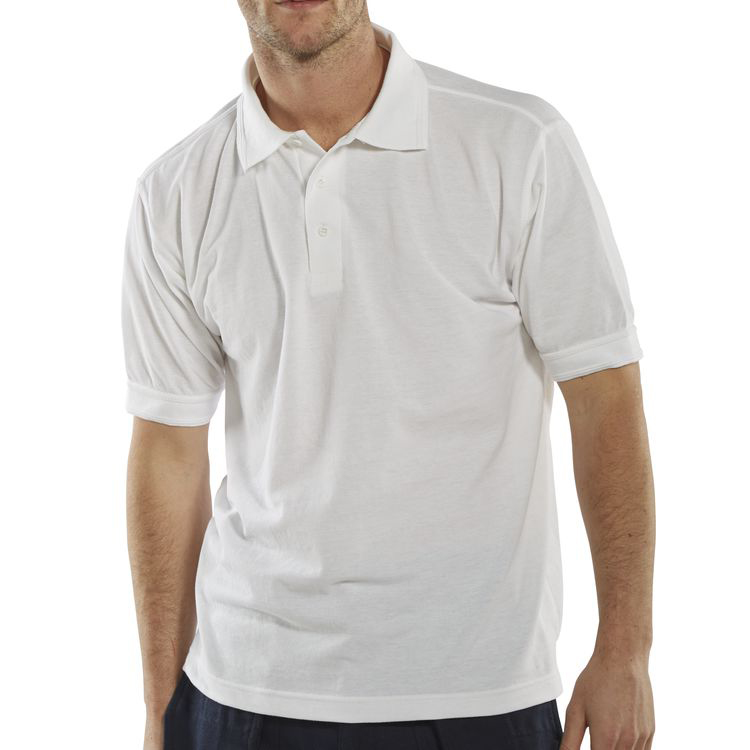 Click Workwear Polo Shirt Polycotton 200gsm L White Ref CLPKSWL Up to 3 Day Leadtime