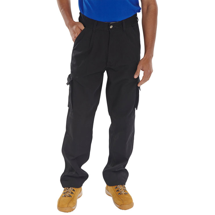 Click Traders Newark Cargo Trousers 320gsm 32-Tall Black Ref CTRANTBL32T Up to 3 Day Leadtime