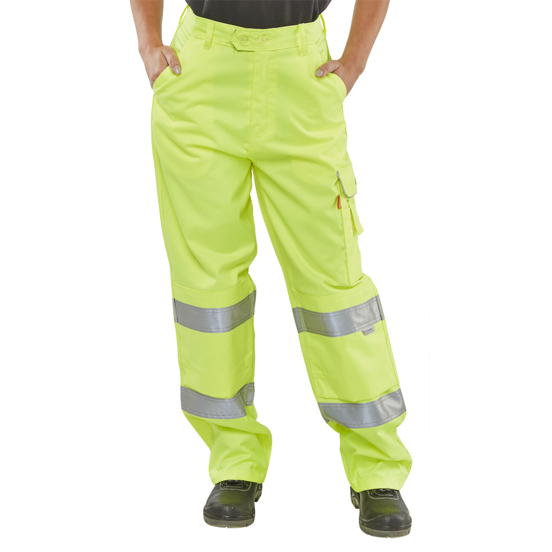 BSeen Ladies Trousers Teflon EN20471 Saturn Yellow 34 Ref LPCTENSY34 *Up to 3 Day Leadtime*