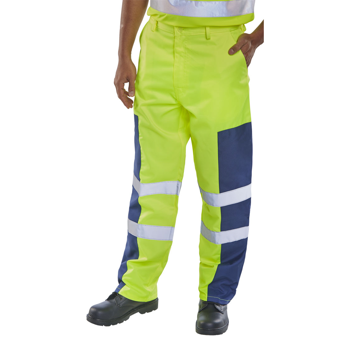 High Visibility Click Workwear Trousers Hi-Vis Nylon Patch Yellow/Navy 44 Long Ref PCTSYNNP44T *Up to 3 Day Leadtime*