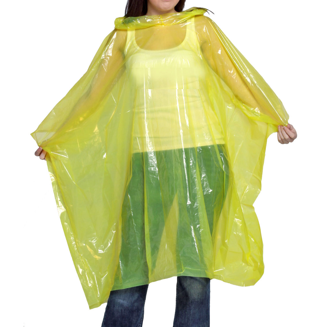 Waterproof Rain Poncho Yellow Ref WRPY Pack 10 *Up to 3 Day Leadtime*