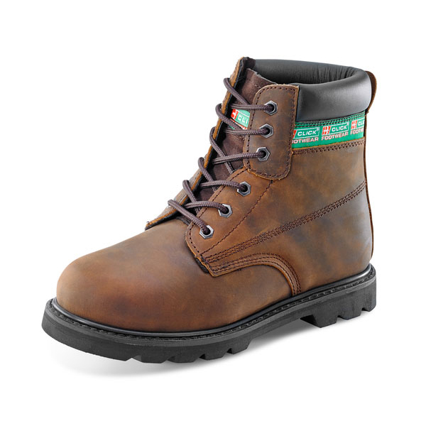 Click Footwear Goodyear Welted 6in Boot Leather Size 12 Brown Ref GWBBR12 *Up to 3 Day Leadtime*