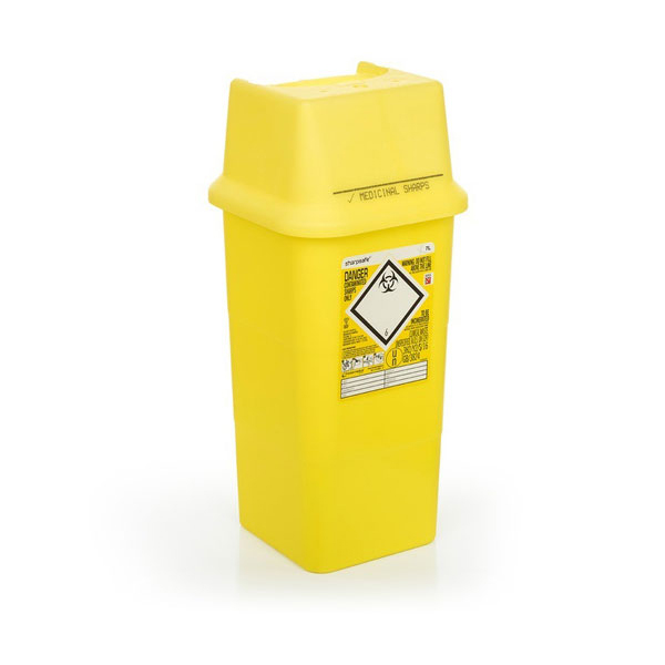 Click Medical Sharps Bin Temporary & Final Closure Feature 7L Yellow Ref CM0646 Up to 3 Day Leadtime