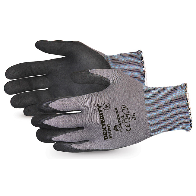 Superior Glove Dexterity Black Widow Grip High Abrasion 9 Black Ref SUS13PNT09 Up to 3 Day Leadtime